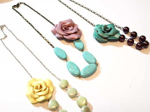 Handmade Vintage Inspired Polymer Clay Rose Flower Necklace Tutorial by See Cate Create