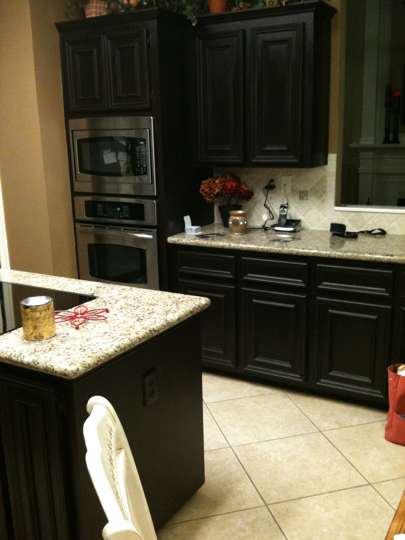 Gel stain kitchen cabinets before after for Staining kitchen cabinets