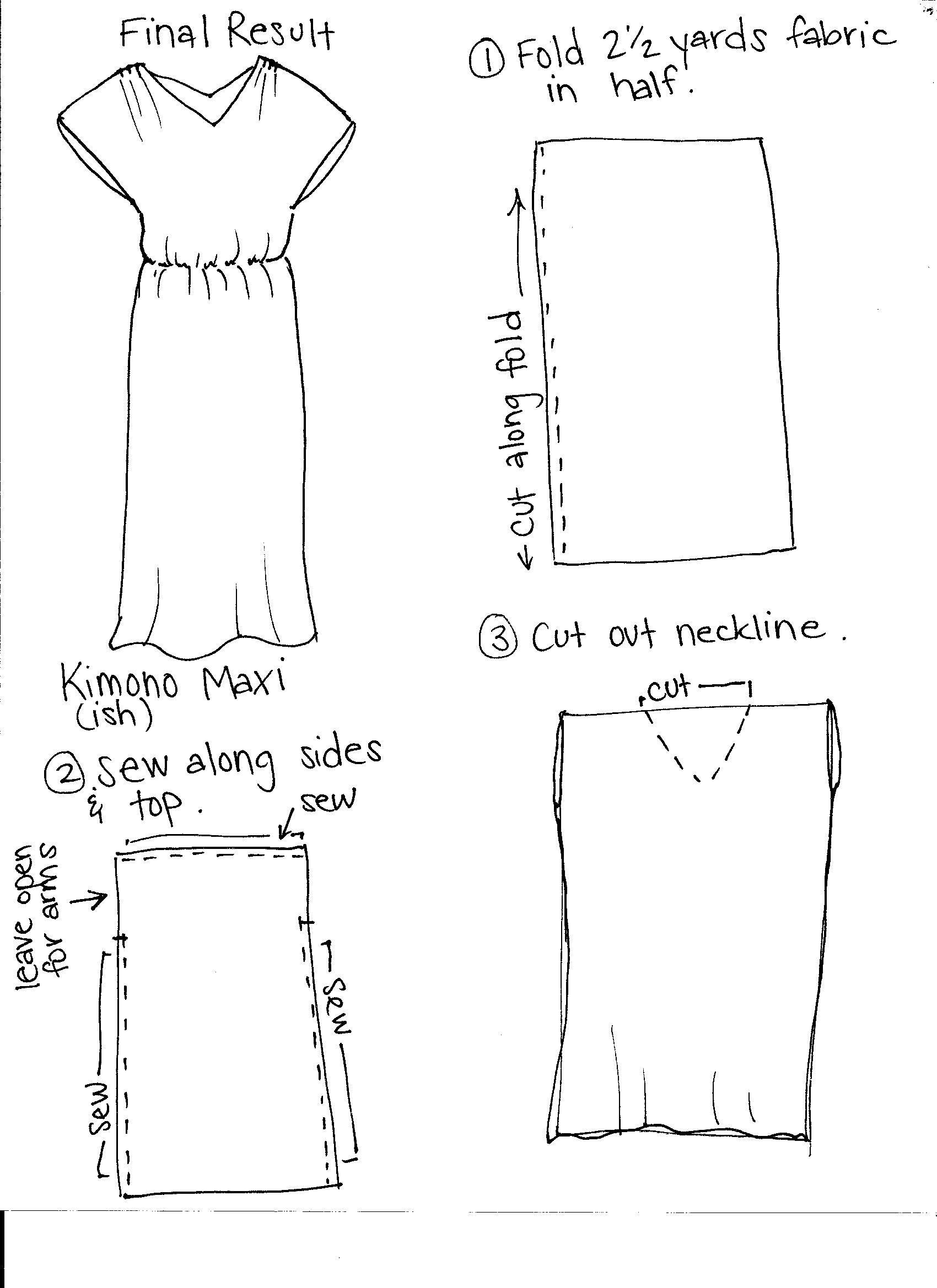 easy DIY maxi dress with just one seam!  sewing tutorial